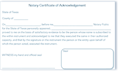 graphic about Printable Notary Forms Texas identified as Cellular Notary General public Patterns of Certificates, pattern wording